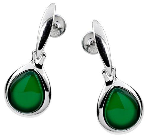 Dagen orecchini a pressione per donne   argento 925 sterlina   con pietre preziose   placcato in rodio; agata verde 1,7 kt, dagen edelstein:agata verde 1.7 kt