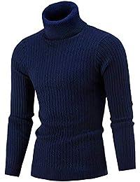 AIDEAONE Maglione Dolcevita da Uomo Maglione Casual a Costine Slim Fit a Maglia Collo Alto Pullover Dolcevita