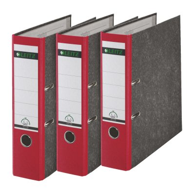 Leitz Qualitäts-Ordner, Wolkenmarmor-Papier, A4, 8 cm Rückenbreite, Rot, 3er-Pack, 310305025