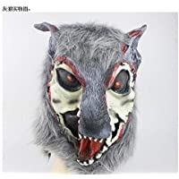 zj Halloween Cos Masquerade Performance Animal Estilo Silicona León Tigre Lobo Guantes Wolf Head Mask Headgear,6,1