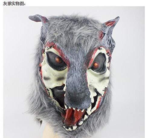 (Z&J Halloween Cos Maskerade Leistung Tier Styling Silikon Lion Tiger Wolf Handschuhe Wolf Kopf Maske Kopfbedeckungen,6,1)