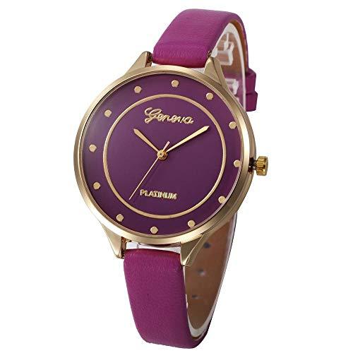HEATLE Uhr Ansehen 1PC Gute Qualität Mode Damen Wasserdicht Beiläufig Checkers Kunstleder Quarz Analog Armbanduhr (1PC, Lila)