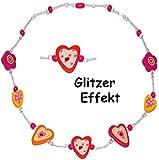 alles-meine.de GmbH 10 Stück _ Ketten / Kinderketten -  Glitzer - Blumen & Herzen - pink & rosa  - aus Holz - Schmuck / Perlenkette - Bunte Holzperlen - bunt - Holzkette für Ki..
