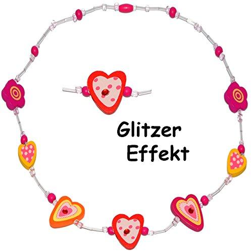 Unbekannt 1 Stück _ Kette / Kinderkette -  Glitzer - Blumen & Herzen - pink & rosa  - aus Holz - Schmuck / Perlenkette - Bunte Holzperlen - bunt - Holzkette für Kinde..