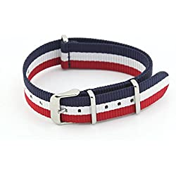 Owfeel(TM) Red-white-blue Nylon Watch Band Strap Replacement Watch Belt
