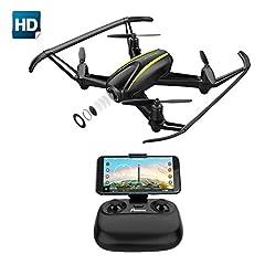 Idea Regalo - Drone con Telecamera HD 1280*720P Potensic Drone U36W WiFi FPV Quadricottero Telecomando con Funzioni di Sospensione Altitudine, Allarme Fuori Portata, Pianificazione delle Rotte di Volo