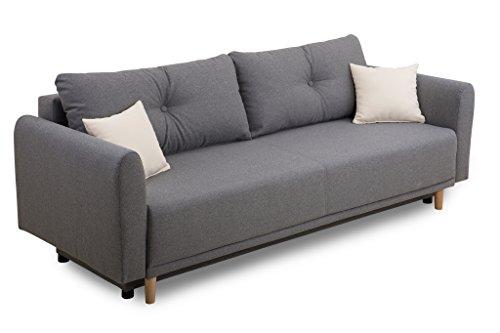 Scandinavia Schlafsofa, Stoff, grau, 95 x 235 x 88 cm