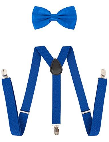 Hosenträger mit Fliege Set Y-Form Stark 3-Clips Unifarben Blau (Kinder Starken Mann Kostüme)