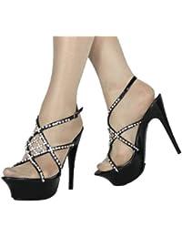 Damen High Heel Plateau Riemchen Sandalette im Italy Design mit funkelnder Strassverzierung 14 cm Stiletto Absatz schwarz