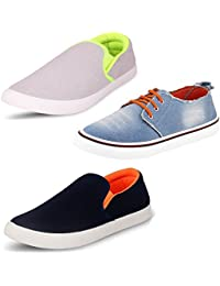 Scatchite Men's Pack Of 3 Premium Casual Shoes With White & Blue Loafers In Various Sizes (Free Delivery)