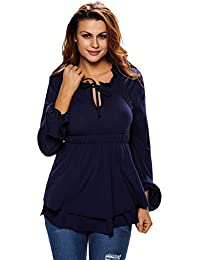 EOZY Femmes Automne T-Shirt Casual Bleu Manche Longue Chemise Tops Blouse