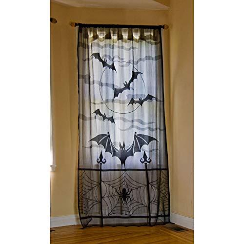 Majome 1/2 Stücke Halloween Spitze Fenster Vorhang Schwarz Spinnennetz Fledermäuse Festival Dekoration Tür Vorhänge