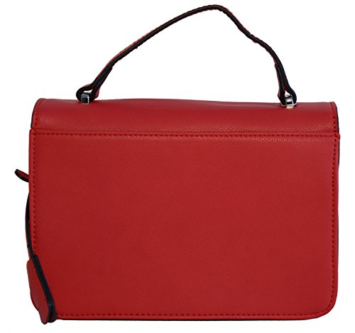 Borsa donna mini bag David Jones in ecopelle modello cartella, portabile a mano e a tracolla Rosso