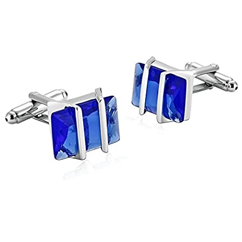 AMDXD Jewelry Stainless Steel Cufflinks for Men Hollow Rectangle Silver Blue Cuff Links 1.7X1.4CM
