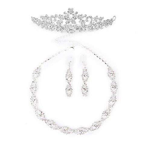 Tiara Set (Halskette Ohrringe Stirnband Tiara Schmuck Set Brauthochzeits Hochzeit Künstlich Liebe Blume Stirnband Krone Schleier)