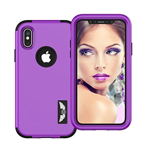 iPhone X Coque, Lantier 3in1 Anti Slip Scratch Dual Layer Heavy Duty Angel Wings Hybrid Armor Hard Soft Rubber Full Body Protective Durable Shockproof Case Cover pour Apple iPhone X Purple