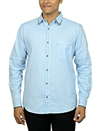 Kuons Avenue Men's Slim Fit Light Blue Self Weave Cotton Silk Traditional Casual Party Shirt