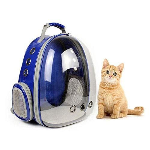 TOOGOO Mochila Portátil Para Mascotas Burbuja Portador, Bolso Mochila de Conejo de Turismo de 360 Grados de Dise?o de Cápsula Espacial Nuevo Bolsa de Viaje Transparente (Azul)
