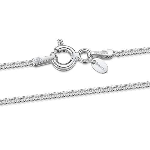 Amberta Designer Halskette - Feine Panzerkette für Kinder - Sterling Silber 925 - Weite: 1.3 mm, Länge: 36 cm