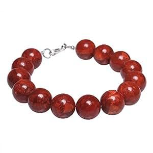 Armband aus Koralle Schaumkoralle Kugel 12mm & 925 Silber Korallenarmband rot dunkelrot glatt