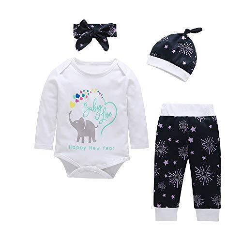 i-uend 2019 Babyspielanzugoverall 4 Stücke Sets - Neugeborenen Brief Elefant Print Tops + Pants + Stirnband + Hut Set Kleidung für 3-24 Monate