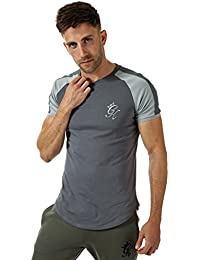 30728e5a696 Gym King Mens Longline Retro T-Shirt in Dark Grey Sleet Grey
