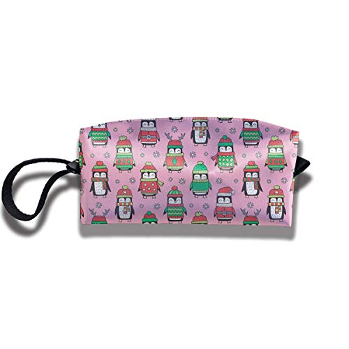 Winter Penguins Print Classic Cosmetic Pouch Bag Cool Makeup Junkie Bags Travel Storage Package Pouch with Zipper