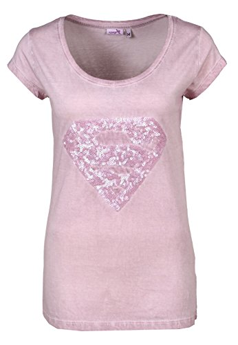 Sublevel T-Shirt Supergirl | T-Shirt basic da donna con logo di Superman in paillettes | Stampa logo rosa S