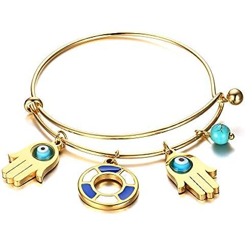 LianDuo Acciaio inossidabile delle donne Turchese degli occhi e mano di Hamsa Wire fascino braccialetto registrabile braccialetto