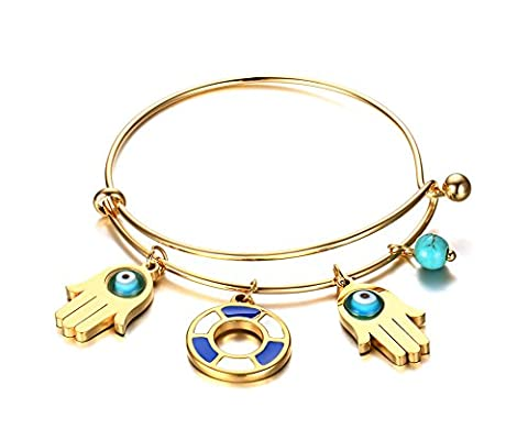 Vnox Stainless Steel Women's 18K Gold Filled Expandable Wire Bangle Bracelet with Turquoise Evil Eye Hamsa Hand Charm