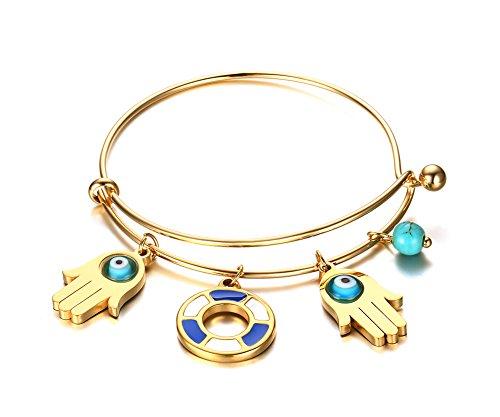 Vnox Oro 18K inossidabili donne d'acciaio riempito il braccialetto di metallo rivestito con Turchese Evil Eye mano di Hamsa fascino