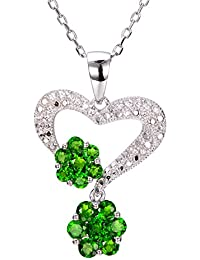 Amazon chrome diopside jewellery sp3017a hutang jewelry 925 sterling silver 148ct chrome diopside white zircon natural gemstone pendant necklace aloadofball Image collections