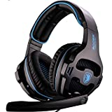 SADES SA810 3.5mm Multi-Platform Gaming Headsets Cuffie Gaming, Cuffie da Gioco Con Microfono Controllo del Volume Noise Cancelling Per New Xbox uno/PS4/PC/Laptop/Mac/iPad/iPod(Nero/Blu)