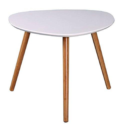 Dépôt515 Table basse Zoe 40 cm - Laquée Blanc et bambou