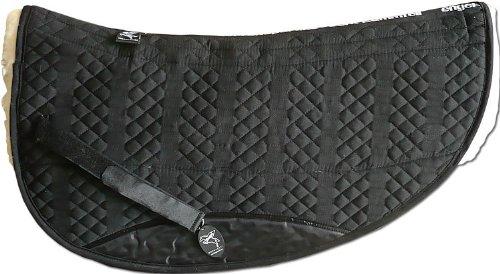 ENGEL GERMANY Western Pad Round Pad (avec rembourrage) en peau de mouton couleur coton noir fourrure naturel