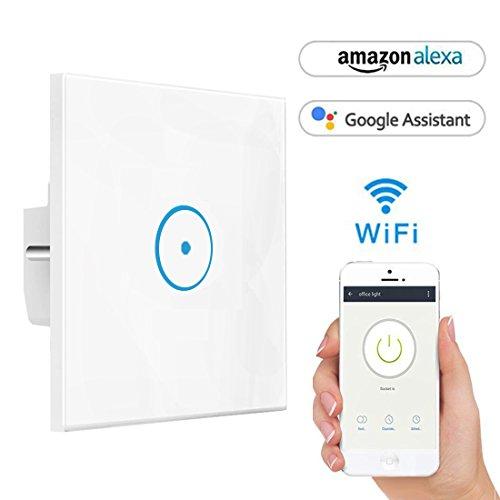 Smart Alexa Lichtschalter, Opard Smart Home Lichtschalter arbeitet mit Amazon Alexa Google Home, gehärtetes Glas Touchscreen-schalter, Timing-Funktion, Überlastungsschutz, kein Hub erforderlich (1 Weg)