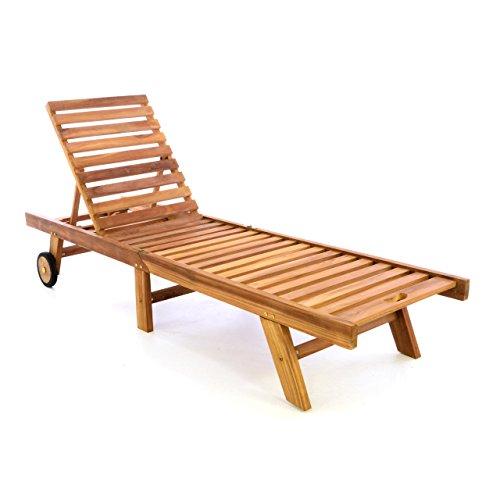 Divero DIVERO Sonnenliege Gartenliege Relaxliege Liege aus Teak Holz 200 x 57 x 34 cm klappbar Holzliege, extra hohe Rückenlehne bis zur Liegeposition abklappbar wetterfest robust