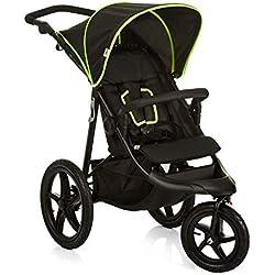 Hauck Runner - silla de paseo, silla running con 3 ruedas neumaticas, plegado compacto, ruedas XL con camara de aire, para recien nacidos, apto para niños hasta 25kg, black neon yellow (negro)
