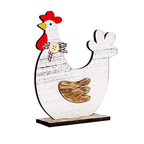 Briskorry Osterdekorationen aus Holz, Hühner/Hennen Dekofiguren Ostern Frühlingsdeko Dekoration Hahn Bunt Garten Deko Tier Henne Huhn (Blau Karierte Party Supplies)