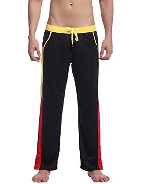 Honghu Hombre Casual Pantalones Negro Tamaño L