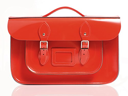Oxbridge Satchel's, Borsa a secchiello donna Pattent Oxblood Rosy Red