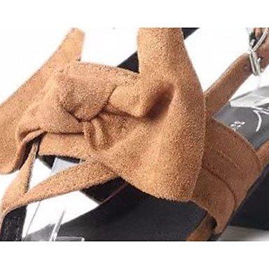 LvYuan Da donna Sandali PU (Poliuretano) Primavera Estate Fiocco Fibbia Quadrato Nero Bianco/nero Marrone chiaro 5 - 7 cm Black