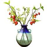 QIQIDEDIAN Moderne minimalistische binaurale farbige Glasvase-Wohnzimmer-Dekorations-Blumen-Anordnung (Farbe : Ceramic-Blau, größe : 26.5cm*7.5cm*9cm)