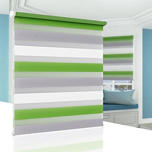 BelleMax Estor Enrollable Noche y Día, Estor Enrollable Doble, con Accesorios de Instalación, Blanco Gris Verde 60cm x 150cm