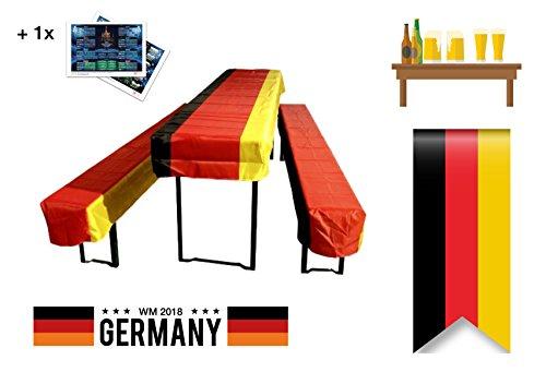 3-teilig Biergarnitur wm Dekoration Deko Überzug Tischdecke für Tische, Biergarnitur,...