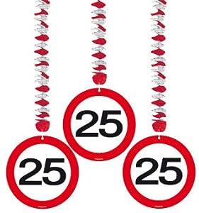Spiralen Girlande 3 St. Verkehrsschild Zahl 25 Geburtstag Rotorspiralen