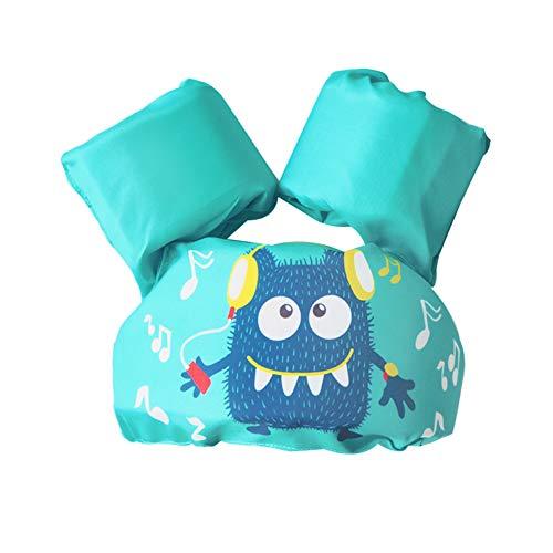 Bili Schwimmflügel für Kinder Schwimmhilfe für Kleinkinder von 2-6 Jahre, 15-30kg Kinderschwimmweste für Jungen und Mädchen (Cyan-kleines Monster)
