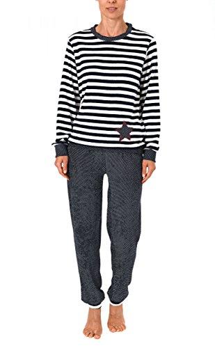 Damen Frottee Pyjama lang mit Bündchen - auch in Übergrössen bis 60/62- 271 201 93 200, Größe:40/42;Farbe:Ringel (Frottee Damen)