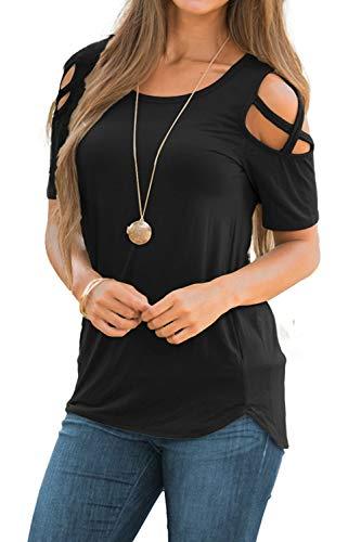 NICIAS Damen Sommer Kurzarm T-Shirt Oberteil Schmales Strappy Cold Shoulder Rundhal Hemd Lässige Tunika Bluse Shirt Schwarz XXL -