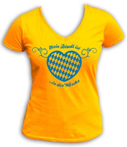 Mein artdiktat t-shirt à col en v pour fille est du linge Jaune - Jaune